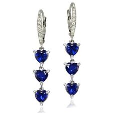 925 Silver Created Blue Sapphire and White Topaz Heart 3-Stone Dangle Earrings
