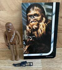 STAR WARS Vintage Chewbacca Figure Complete & Backing Card 1977 Kenner