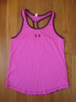 Under Armour girls Heatgear pink polka dot TANK TOP athletic cami t shirt YMD M