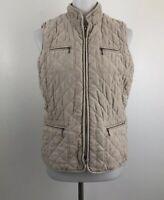 Croft and Barrow Womens sz Medium Quilted Vest Beige Microsuede Full Zip Pockets