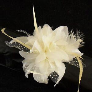 Wedding / Prom Wrist Flower & Feather Corsage on Pearl Bracelet - Cream / Ivory