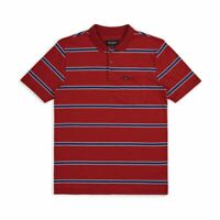 Brixton Mens Hilt Washed S/S Polo Burgundy Navy M New