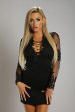 Connie's Long Sleeve Black Lace Mini dress w/ Lace Up Neckline & Back Detail XL