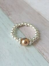 Sterling Silver & Rose Gold Stretch Ring, 925 beads, stacking, ring/toe, gift