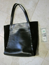 "$200 Timberland Shoulder Tote Handbag Black Leather Book Bag Zip 13"" X 16"" X 4"""