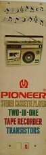 INDIA VINTAGE TIN SIGN- PIONEER STEREO CASSETTE PLAYER /SIZE-14X4.8 INCH/1960s