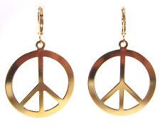 SoHo® Ohrhänger Ohrringe Messing vergoldet peace Friedenszeichen 32mm Frieden