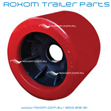 "x12 BOAT TRAILER WOBBLE ROLLERS. 4"" RED SMOOTH 18-22mm Bore. Soft Wobble Roller"