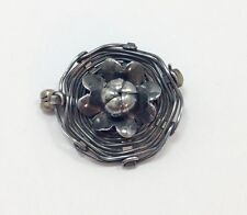 Sterling Silver Solid 925 Fmge . Vintage Handmade Wire Flower Shape Brooch Pin