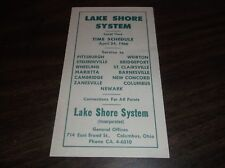 APRIL 1966 LAKE SHORE SYSTEM BUS SCHEDULE COLUMBUS, OH-PITTSBURGH, PA