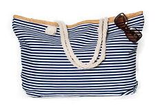XXL Damentasche Strandtasche Sommer Tasche Badetasche gestreift Dunkelblau Weiß