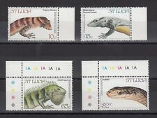 TIMBRE STAMP 4 ILE ST LUCIA Y&T#652-55 SERPENT LEZARD  NEUF**/MNH-MINT 1984 ~B71