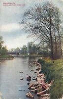 Chicago Illinois~Douglas Park in Spring~Rocky Bank~Bridge~1909 VO Hammon