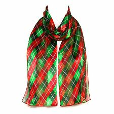 Red & Green Check Chiffon Satin Ladies Womens Scarf Shawl Wrap