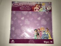 "DISNEY PRINCESS EK Success 10 Sheets of Scrapbook Paper 12""x12"" Cinderella Ariel"