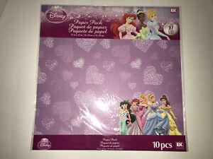 "DISNEY PRINCESS EK Success 10 Sheets of Scrapbook Paper 12""x12"" Cinderella Ariel"