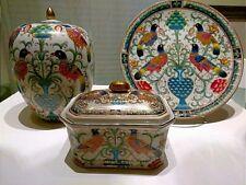 Oriental accent large vase w lid/platter/ decorative box with lid