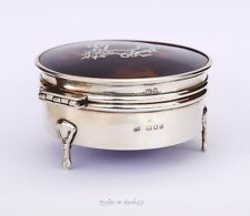 1918 Antique British Sterling Silver Bone Jewelry Vanity Ring  Box / 126 gr