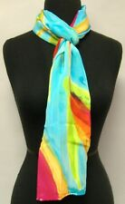 Hand Painted Silk Scarf Blue Oblong Womens Wrap Bird Of Paradise Unique New Gift