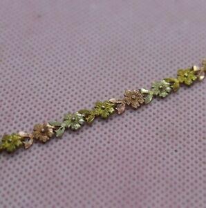 14K Tri-Color Gold, Beverly Hills Gold 7 inch Flower Bracelet. 5.0g