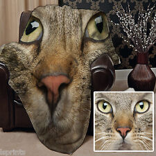 CAT FACE DESIGN SOFT FLEECE BLANKET COVER THROW BED HOME SOFA L&S PRINTS