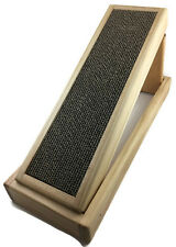 Handmade Wood Cat Scratcher with reversible and replaceable cardboard insert.