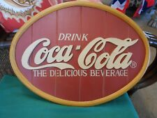 """Wood & Resin """"Drink"""" COCA COLA Sign """"The Delicious Beverage""""    FREE POSTAGE USA"""