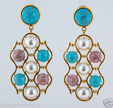Ben-Amun Turquoise/Pink/Pearl Long Earrings in Gold Plated #49100