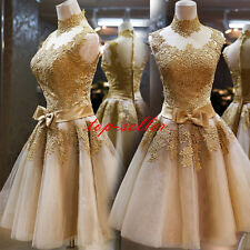 Womens Lace Dress Formal Bridesmaid Gown Evening Cocktail Short Mini Party Dress