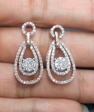 DEAL! 1.00CT NATURAL DIAMOND CLUSTER DROP DANGLE EARRINGS IN 14K GOLD TWO TONE