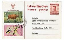 Thailand - 1977 - Airmail Postal Card w/ Sc# 730 & 806 - 100817