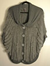 NEW  Hale Bob  Genuine Rabbit Fur Poncho Sweater Coat Size S