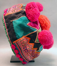 TRADITIONAL HAT HEAD WEAR ASIAN HMONG TRIBE ADORNMENT COTTON TEXTILE ETHNIX