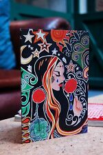Gothic Donna con rose A5 Greetings CARD ILLUSTRAZIONE Stile Psichedelico Fantasy