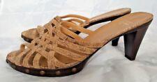 Stuart Weitzman Gold Sparkle Studded Strappy Sandals Slip On Slides Heels 10 M