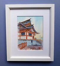 """Original Framed Watercolour """"Hanazono Shinto Shrine"""" Shinjuku, Tokyo, Japan"""