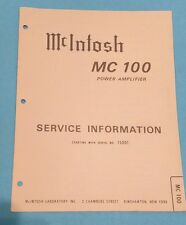 McIntosh Service Manual - Model C100 - Original - Power Amplifier