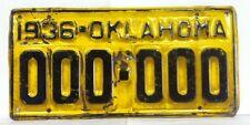 1936 OKLAHOMA Sample Front License Plate - Original Paint (000-000)