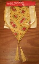 CHRISTMAS RED AND GOLD POINSETTIA TABLE RUNNER WITH TASSELS 136CM LONG BNWT