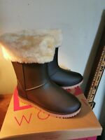 NEW Brown Rubber Ankle Boots Womens Faux Fur Trim Top Size 37 /Uk 4 BN. Winter