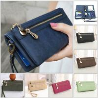 Women Lady Zipper Leather Wallet Long Card Holder Phone Bag Case Purse Handbag