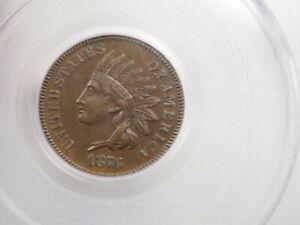 1876 Indian Cent PCGS AU 55 # 8100