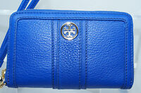 New Tory Burch Smartphone Wristlet Wallet Clutch Bag Blue Leather