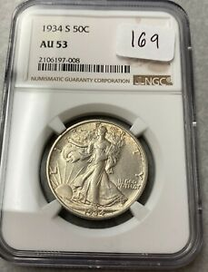 1934-S Walking Liberty Silver Half Dollar NGC AU53 #008