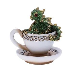 Nemesis Now Dracuccino Teacup Dragon Figurine (Green) 11.3cm