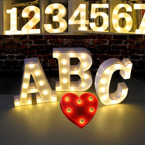 A-Z LED Large Letter & 0-9 Number Night Light Sign Birthday Party Wedding Decor