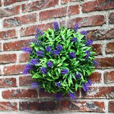 Best Artificial Lavender Lush Long Leaf Topiary Flower Ball Hanging Basket Plant Purple 2 30cm