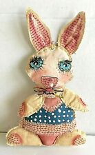 Original  Outsider  Art  Anthropomorphic  Rabbit  Hand-stitched Painted Fabric