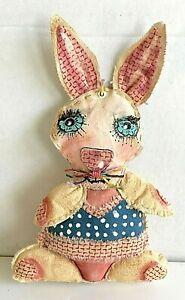Original  Outsider  Art  Anthropomorphic  Rabbit  Hand-stitched Painted Fabric