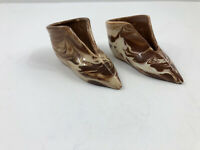 Vintage 1940's Boot Boots Pottery Clay Brown Swirl Pair VG Condition